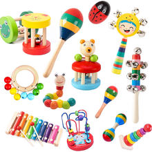 Montessori chocalhos de madeira para o bebê martelo areia chocalho do bebê educacional musical brinquedos desenvolvimento do bebê 0 12 meses
