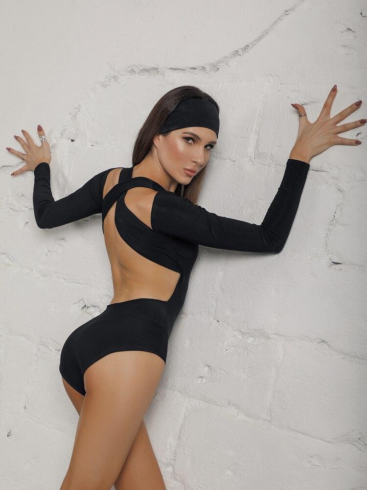 ZYMdancestyle Skimmed Back Body Top #19127 Women Latin Dance Practice Long Sleeves Cross Slim Body Top With Bra