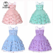 цена на Skyyue Flower Girl Dress for Wedding Pink Purple Appliques Tulle Tank Ball Gown Kids Party Communion Dresses Princess 2019 731