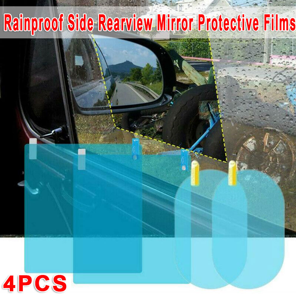 4PCS PET+Nano Coating Material  Car Rearview Mirror Side Window Glass Anti-Fog Film Rain Protection Durable And Practical CSV
