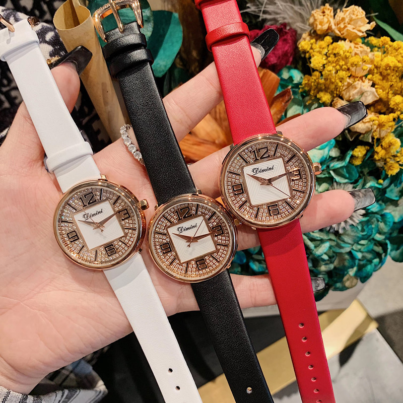 New Designer Perfect Round Square Watches for Women Brand Crystals Watch Waterproof Real Leather Strap Wrist watch Quartz Clocks