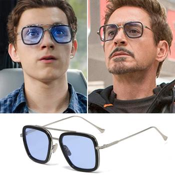 Mimiyou Squre okulary mężczyźni Retro Tony Stark okulary Iron Man klasyczna marka odzieżowa Desgin UV400 okulary odcienie óculos tanie i dobre opinie CN (pochodzenie) SQUARE Dla osób dorosłych Z żywicy Gradient 44 mm Akrylowe GLA1221 55 mm Round Face Long Face Square Face Oval Face
