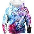 Модные толстовки для мальчиков и девочек с 3D принтом  яркие краски  милые единороги  лошади  забавные толстовки  детские пуловеры с капюшоно...