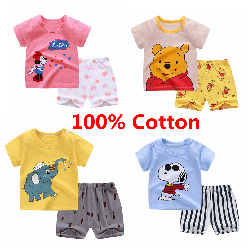 Clothes Baby 2pcs Suits Short Sleeve  Tshirt  Pants Boys Summer Clothes Sets Girls Kids T-shirt Boys  Summer Clothes Children
