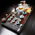 Домашний простой чайный набор из цельного дерева  керамический фиолетовый Песочный набор  набор кунг-фу  Автоматическая быстрая печь  чайна...