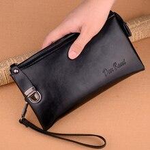 цена на Men's Leather Wallet Clutch Handbag Business Wallet Men Black Brown Business Large Capacity Wallet Double Zip Phone Bag Men