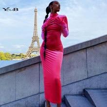 Youb feminino longo vestido de veludo 2020 ladie vintage festa à noite vestido sem costas manga cheia das mulheres longo maxi vestidos sólidos