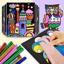 9 pçs diy arte mágica adesivo pintura para crianças artes bonito dos desenhos animados adesivos criativos para o presente das crianças