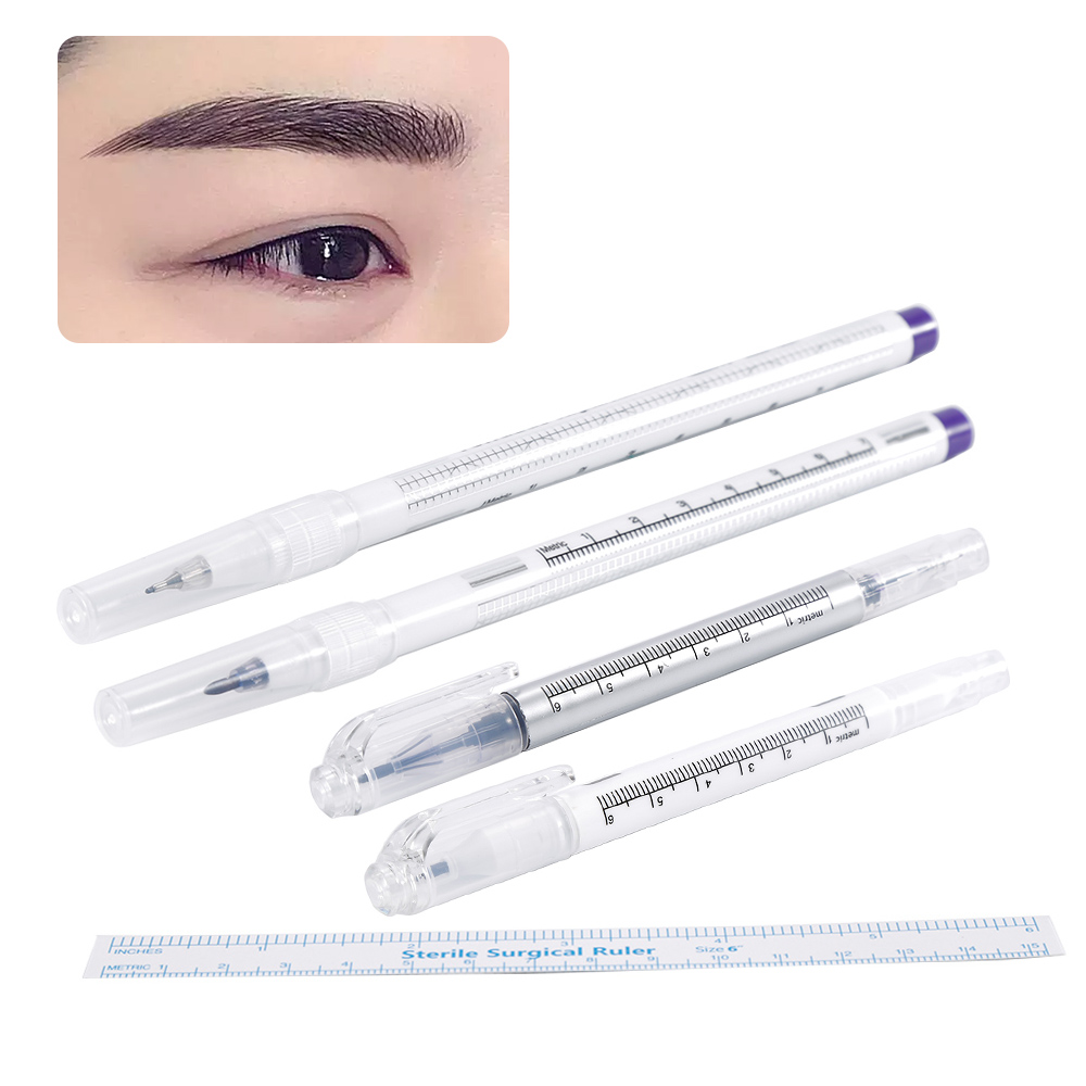 Medical Surgical Scribe Pen Eyebrow Piercing Marker Permanent Tattoo Accessories Pen Sterile Surgical Ruler
