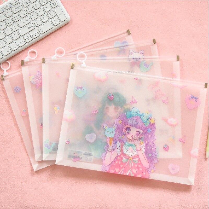Quadratic Element Girl Flash Powder Side Cartoon Transparent PVC File Bag Document Bag File Folder Stationery Filing Production