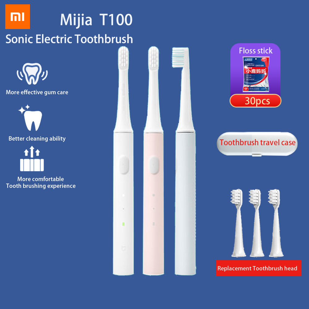 Orignal Xiaomi Mijia Sonic Electric Toothbrush Mi T100 Tooth Brush Colorful USB Rechargeable IPX7 Waterproof Travle Scoocl Home