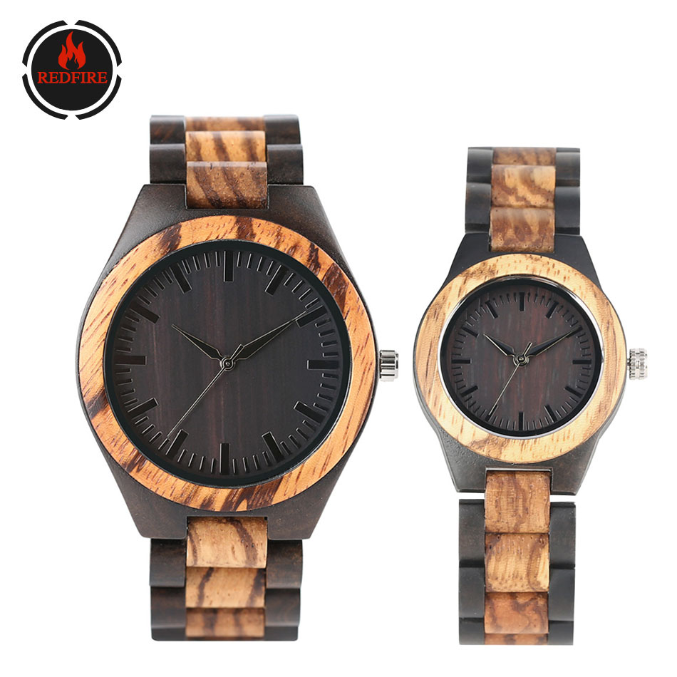 REDFIRE Wooden Watch Quartz Couple Watches Natural Full Wood Clock Minimalist Analog Display Lovers Watch Valentines Gifts 2020