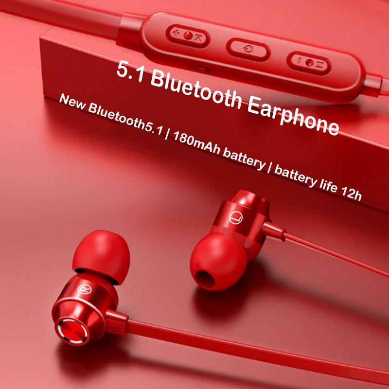 5.1 Bluetooth наушники спортивные наушники с шейным магнитные беспроводные наушники стерео наушники музыка металл наушники с микрофоном для всех телефонов