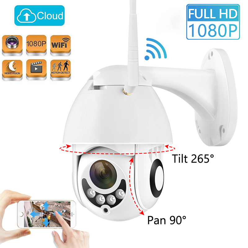 1080P Wireless New  PTZ Speed Dome IP Camera WiFi Outdoor Two Way Audio CCTV Security Video Network Surveillance Camera P2P