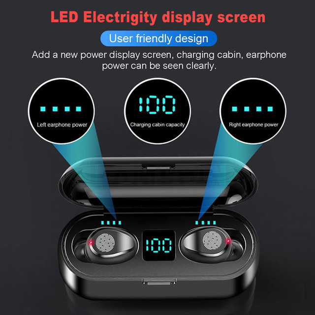 New 5.0 Bluetooth Earphone 8D Stereo Wireless Earbuds Mini Wireless Earphone Headset with  Power Bank Earphone Headphone 2