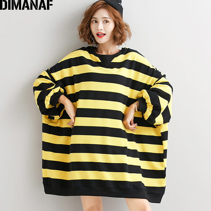 DIMANAF Plus Size Women Sweatshirts Pullovers Female Tops Shirts Autumn Winter Oversize Long Sleeve Striped Loose Casual Clothes