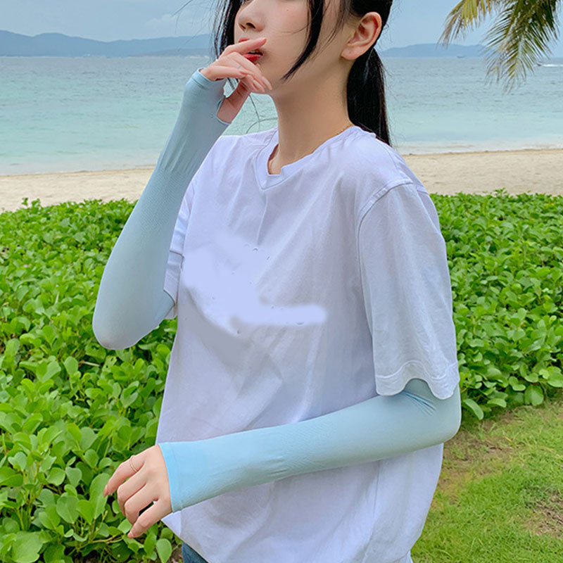 2Pcs Sport Arm Sleeves Summer Ice Silk Sunscreen Men Women Gloves Outdoor Driving Unisex Uv Sun Protect Anti-Slip Sleeve