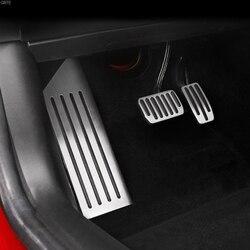 سبائك الألومنيوم دواسة القدم ل تسلا نموذج 3 مسرع الغاز الوقود بدال فرامل بقية دواسة منصات الحصير غطاء اكسسوارات السيارات التصميم