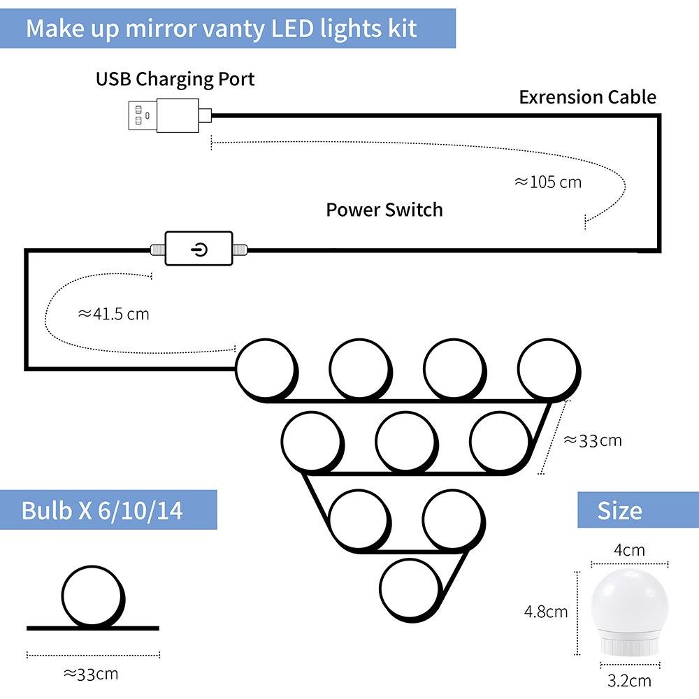 Светодиодный зеркальный светильник 12 В туалетный столик светодиодный