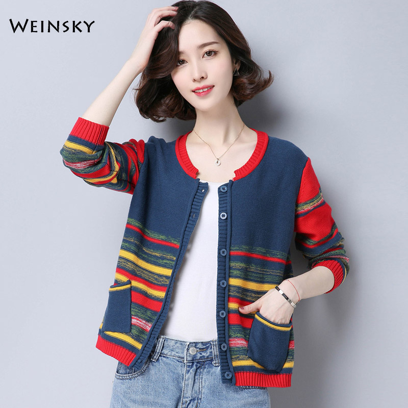Women Knitted Sweater And Cardigans Korean Fashion Vintage Style Female Sweaters 2019 Autumn And Winter New Coat