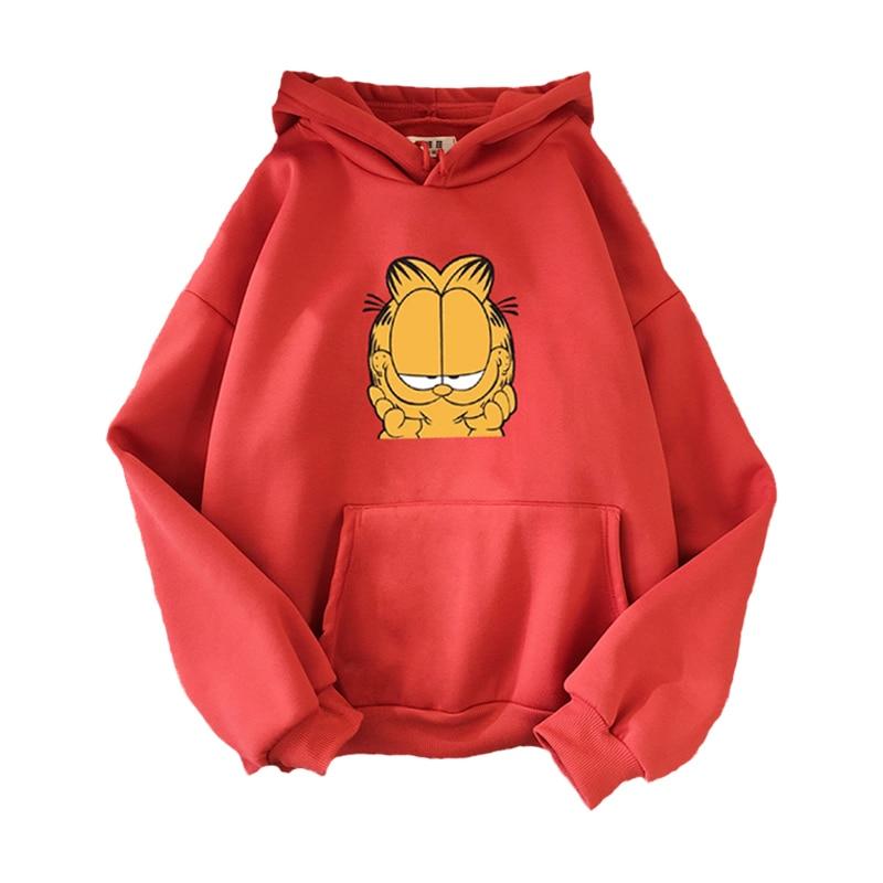 Harajuku Sweatshirt Women Cartoon Garfield Printed HoodiesYellow Long Sleeves Casual Pullovers Trendy Multicolor Femme Clothes