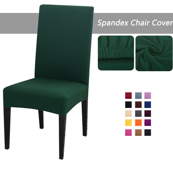 Solid Color Dining Room Elastic Strech Chair Cover Spandex Removable Washable Stretch Seat Protector for Wedding image