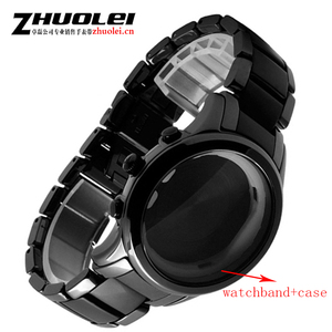 Image 5 - Voor AR1452 AR1451 Keramische horlogeband en case 22mm 24mm Hoge Kwaliteit Zwarte mannen Keramische Band Armband staal zwart deployment band armband