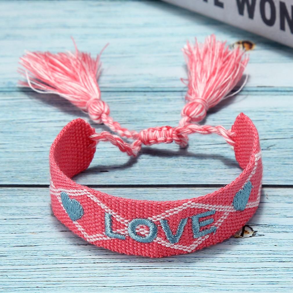 Women Braided Tassel Charm Bracelets for Women Girls Adjustable Wax Rope Letter LOVE Anklet Bracelet Gift