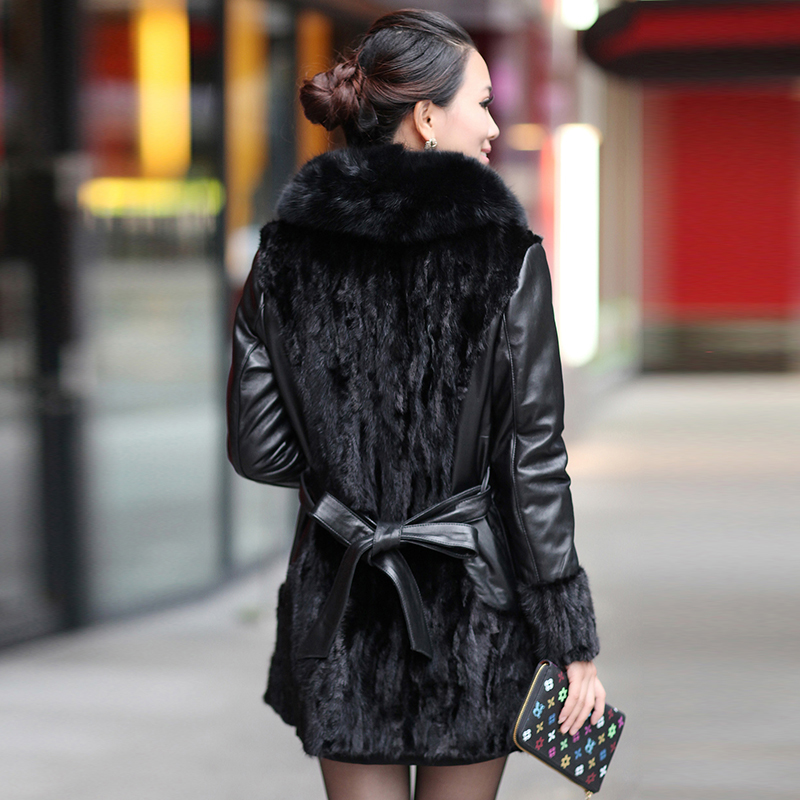 Winter Women Real Fur Coat Mink Coats Patchwork Sheepskin Genuine Leather Jacket Natural Fox Fur Collar Plus Size 930-1 S