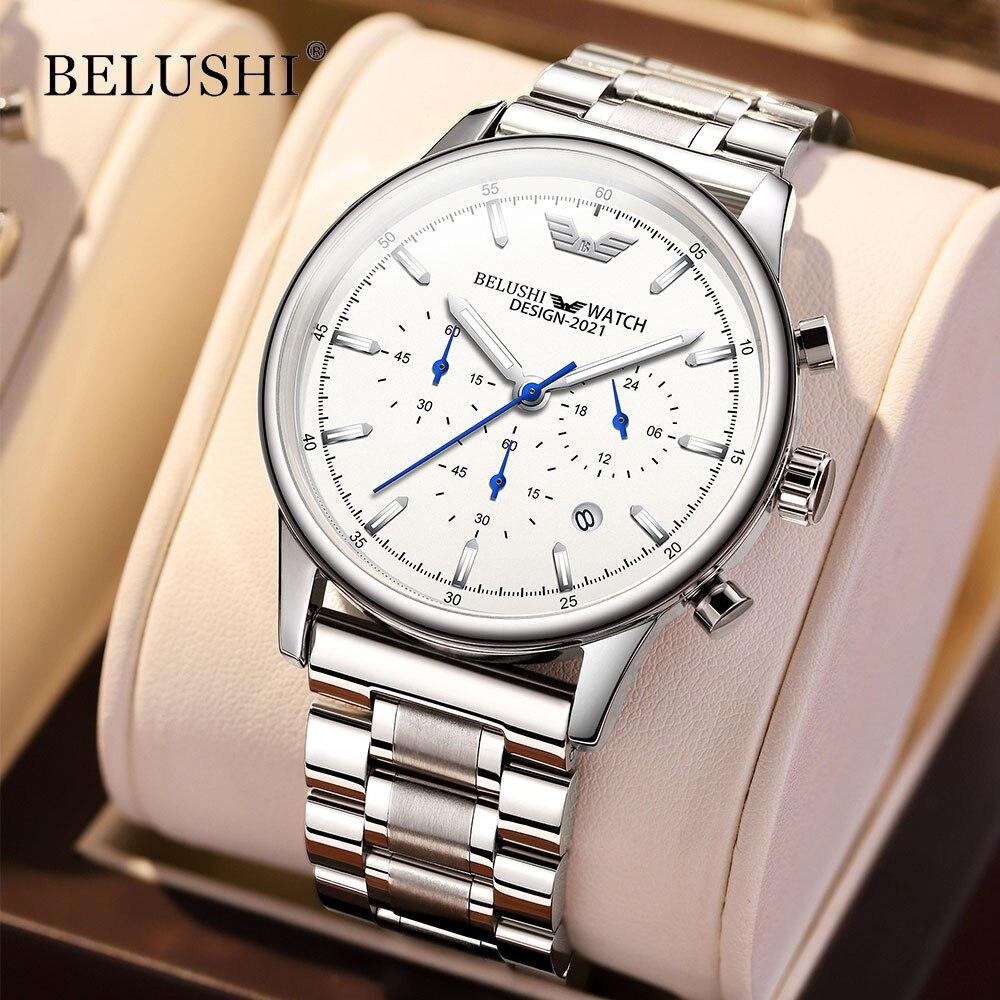 Часы наручные Belushi Мужские кварцевые, деловые повседневные спортивные водонепроницаемые аналоговые, с хронографом, 2021