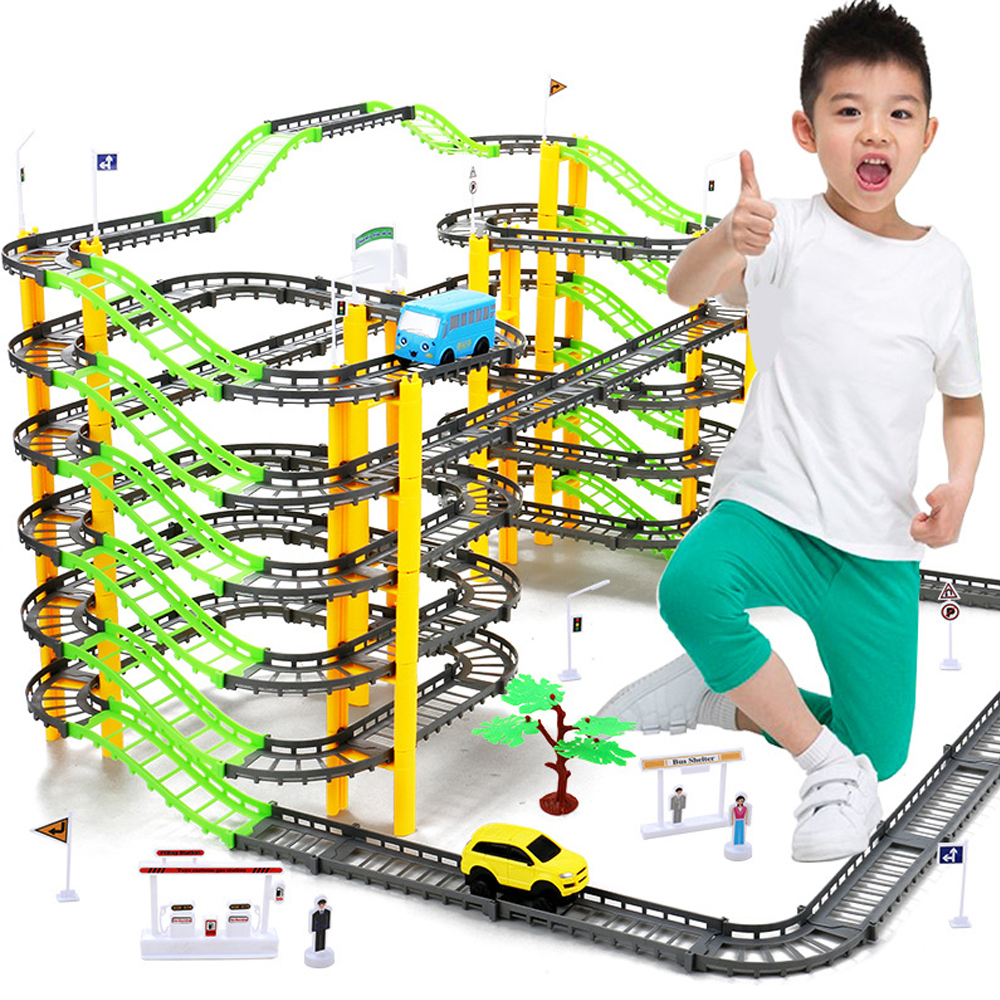 155 Pcs / Set 7 Layers Electric Car Hot Wheels DIY Assembly Rail Racing Track Kit Educational Toys For Children Diecast 1:18