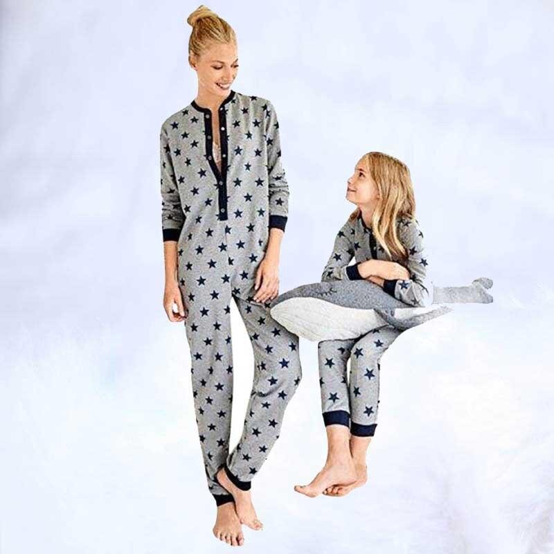 2019 mode maman et bébé correspondant vêtements famille vêtements de nuit ensemble à manches longues dames étoile imprimé combinaison