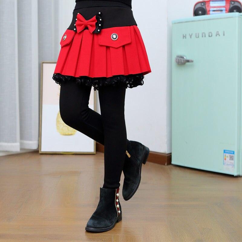 New Fashion Kids Skirt Leggings For Girls Knitting Leggings With Fleece For Toddler Girl Legins Princess Skinny Pants Culottes