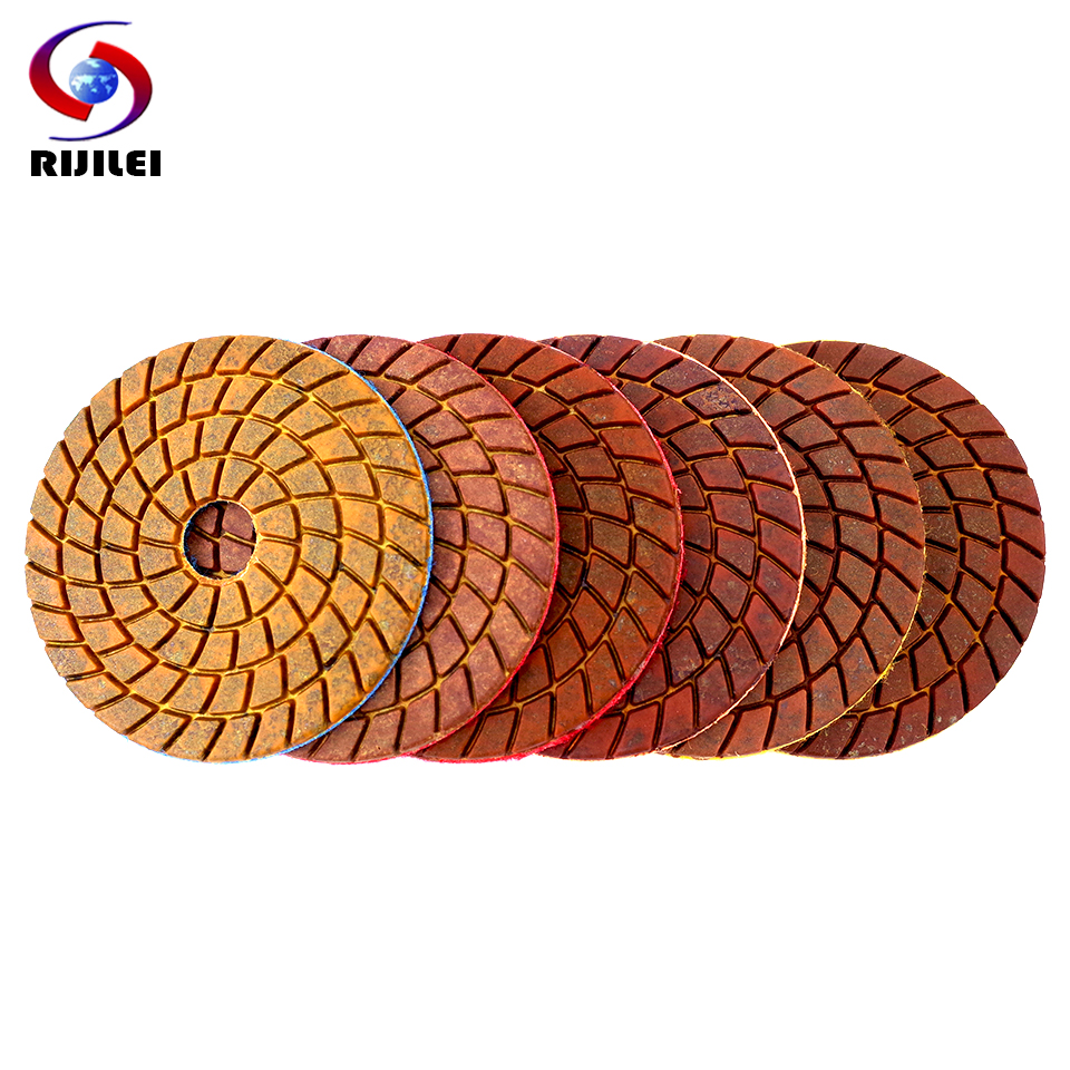 RIJILEI 6PCS 4inch Super Copper Metal Bond Wet Diamond Polishing Pads For Granite Marble Concrete Floor Grinding Disc
