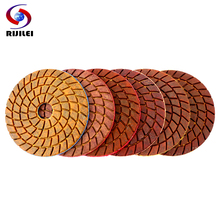 цена на RIJILEI 6PCS 4inch Super Copper metal bond Wet Diamond polishing pads for granite marble concrete floor Grinding Disc