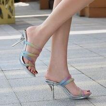 Sandálias femininas mulher bombas sexy cristal claro sapatos chinelos senhora transparente salto alto verão meninas 2021 designer de moda