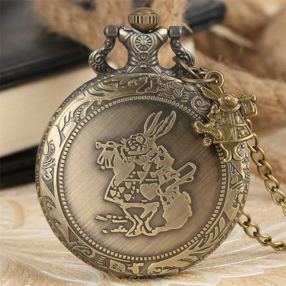 Aliece In Wonderland Mr. Rabbit Design Necklace Fob Clock Quartz Pocket Watches Gifts For Kids Boys Girls Men Women