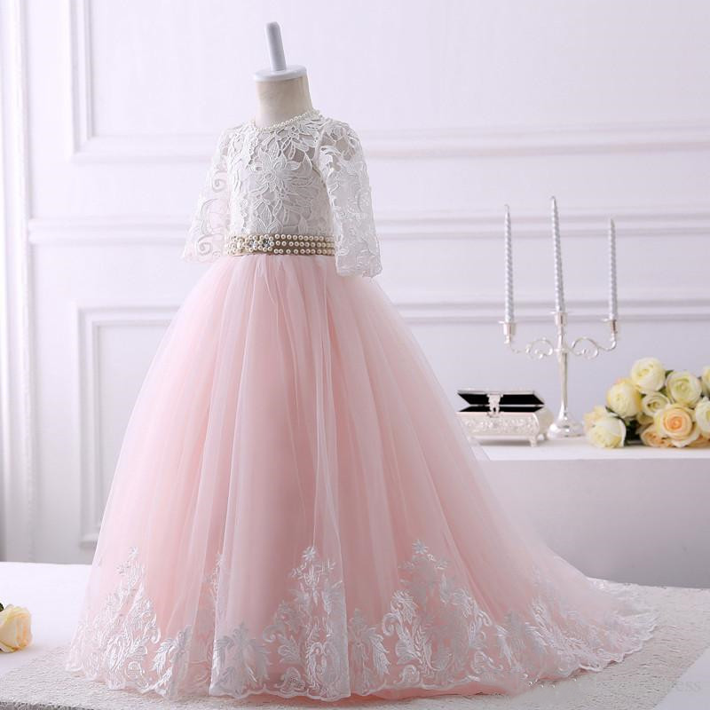 Customized Kids Clothes Lace A line Flower Girls Dress with Pearls Ribbon Keyhole Back Lace up Tulle First Communion Dress