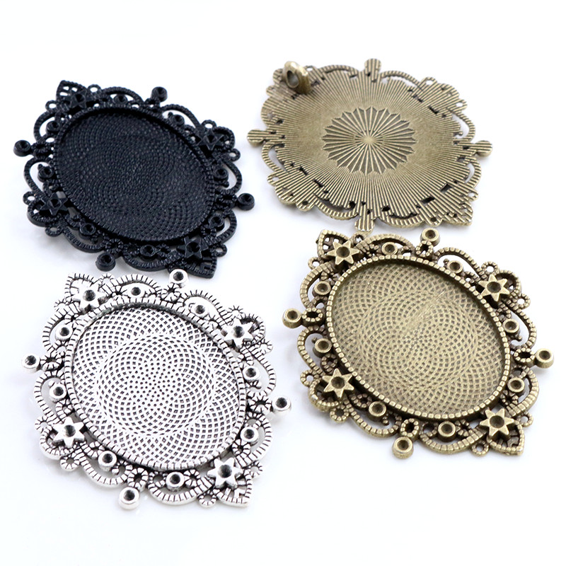 New Fashion 5pcs 30x40mm Inner Size Black Antique Silver And Bronze Pierced Style Cabochon Base Setting Charms Pendant