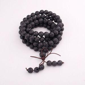 Image 3 - 108 Natural Stone Buddha Prayer Beads Mala Bracelets Buddhist Rosary Necklace