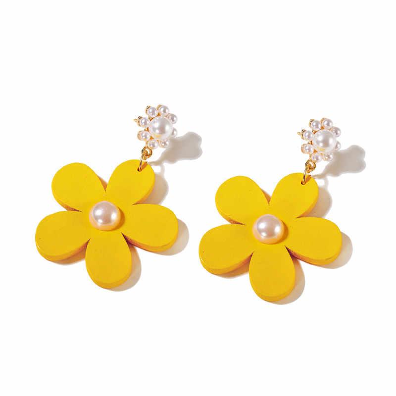 แฟชั่น Pearl DROP Dangle ต่างหูดอกไม้สีเหลือง Golden หวานเครื่องประดับ VINTAGE ไม้ต่างหูสำหรับผู้หญิงของขวัญ