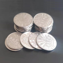 100 pçs 25*1.85mm metal jogo de arcada fichas de aço inoxidável jogo de arcada moeda pentagrama coroa tokens