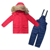 Grils Winter Clothing Set Kids Ski Suit Overalls Girls Boy Duck Down Coat Warm Snowsuits Jackets+Jumpsuit 2pcs/set