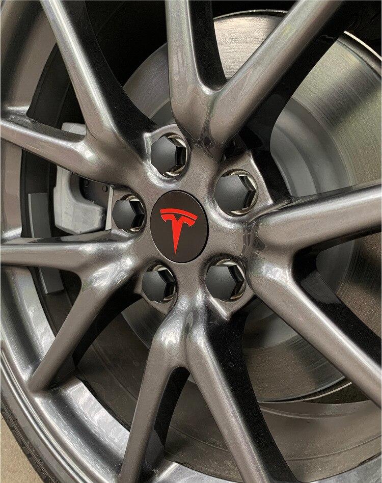 Колеса автомобиля крышки с резьбой по центру декоративная Кепки 25 шт./компл. винт шин Кепки модификации аксессуары для Tesla модель 3 предмета детской одежды в комплекте(/X