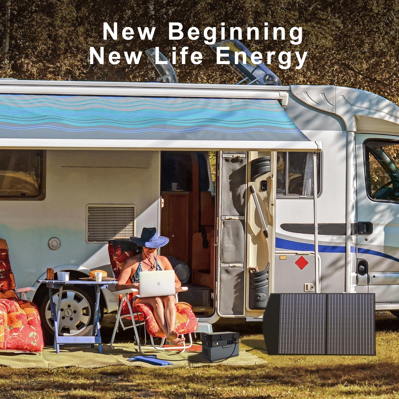 Allpowers Solar Generator, 110V/220V Portable Power Station, mobiele Emergency Backup Power Met 18V Opvouwbare Solar Panel Charger 5