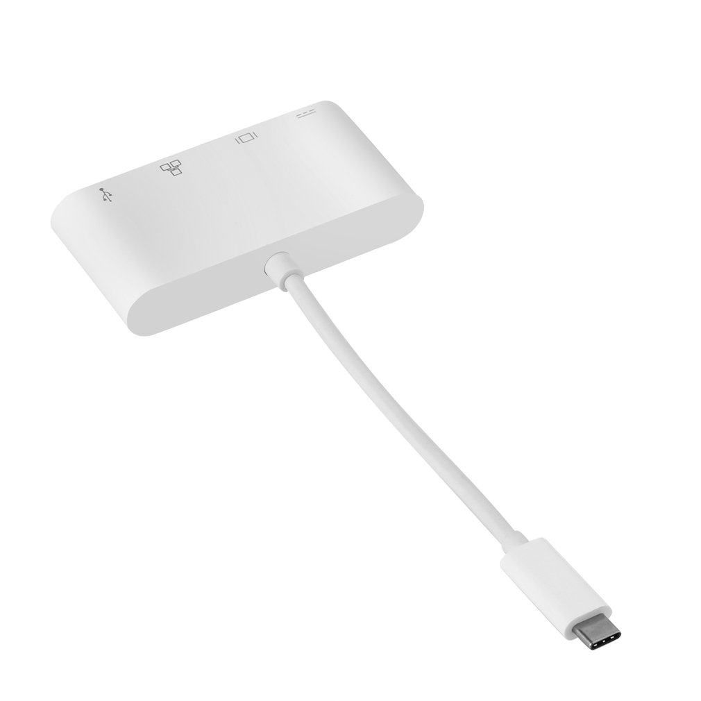White Easy to Use & Carry USB 3.1 Type-C to USB 3.0 + HDMI(1080P@60HZ)+Gigabit Ethernet +Type-C Charging Adapter