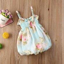 0-24 m criança bebê menina vestido de verão impressão floral sem mangas vestido condole cinto vestido