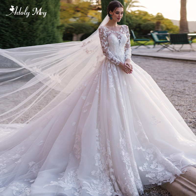 Adoly Mey Gorgeous Appliques Chapel Train A-Line Wedding Dresses 2020 Luxury Scoop Neck Beaded Long Sleeve Vintage Bridal Gown