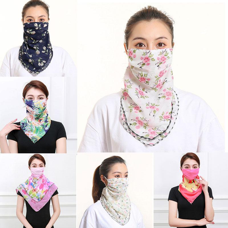 Bandana Women Face Mask Chiffon Scarf Silk Neck Foulard Female Bufanda Sunscreen Print Mouth Cover Breathable Lace Ring Masks