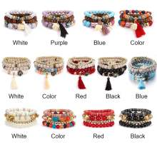 4pcs Bodhi Natural Tassel Bangle Stone Multilayer Crystal Bracelet Beaded Boho(China)